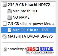 หลังจากเสร็จแล้วชื่อ Partition จะเปลี่ยนเป็น Mac OS X Install DVD